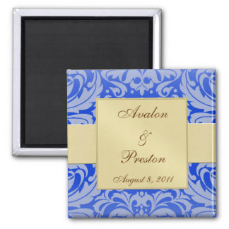Damask Gold Ribbon Blue Save The Date Magnet