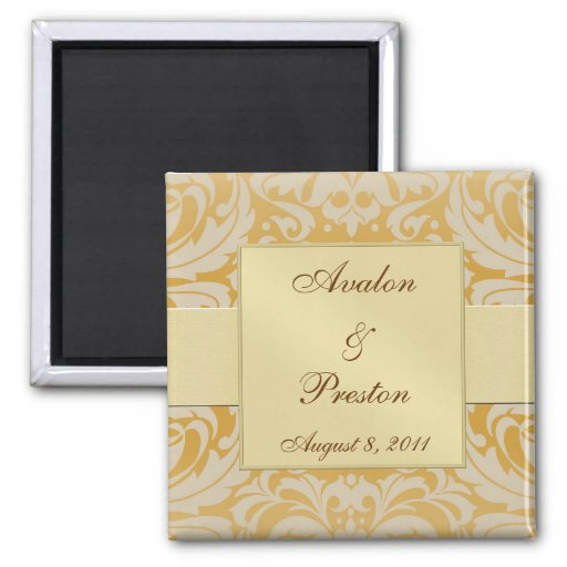 Damask Gold Ribbon Gold Save The Date Magnet
