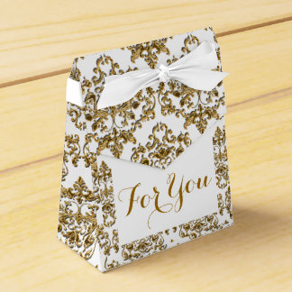 Damask Gold white formal corporate wedding Favour Box