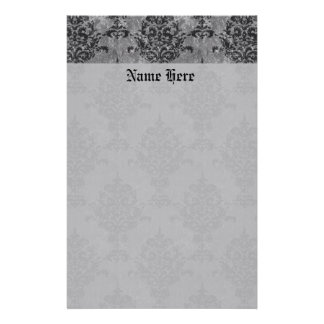 Damask Gothic Black on Gray Stationery