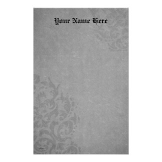 Damask Gothic  Gray Scrolls Personalized Stationery