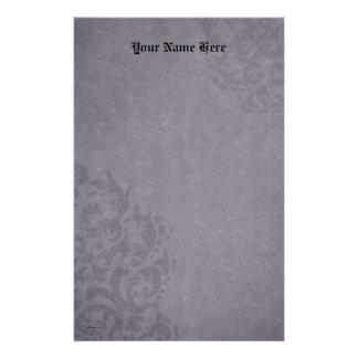 Damask Gothic Purple Stone Scrolls Stationery Paper