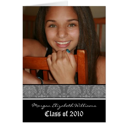Damask Graduation Announcement in YOUR COLOR