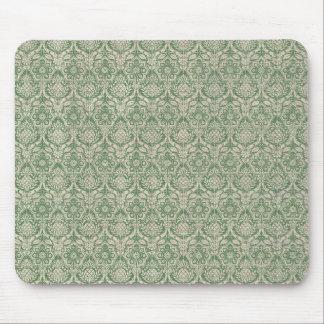 Damask Green Pattern Mouse Pad