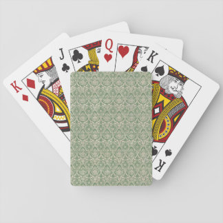 Damask Green Pattern Playing Cards