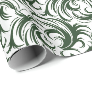 Damask Green Wrapping Paper