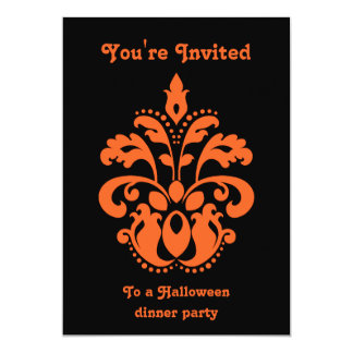 Damask Halloween party Card