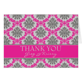 Damask Hot Pink and Gray Taupe Thank You Note Card