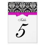 Damask Hot Pink Bow Table Seating Number Greeting Card