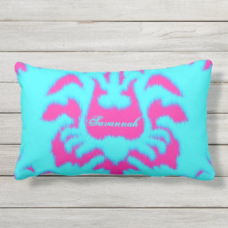 Damask Ikat Bright Aqua & Hot Pink Pillow