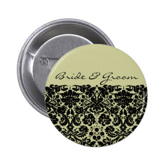 Damask In Black 6 Cm Round Badge