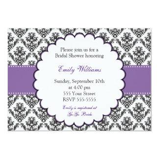 Damask Invitation Bridal Shower Purple