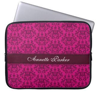 """Damask """"Kangaroo Paw"""" named dark pink laptop case"""