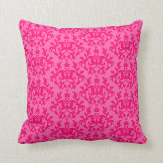 Damask Kangaroo Paws hot pink pillow