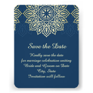 Damask Lace Luxury Blue Save the date Personalized Announcement
