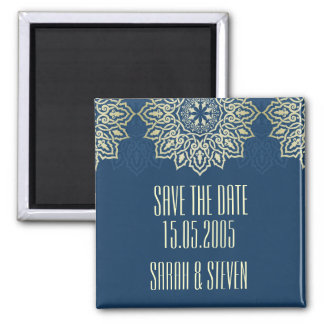 Damask Lace Luxury Blue Save the date Refrigerator Magnet