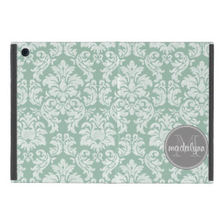 Damask Lace Pattern with Name and Monogram iPad Mini Case