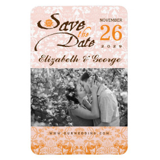 Damask Lace Tangerine Save The Date Photo Magnet
