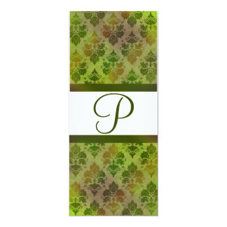 Damask Late Summer Green Monogrammed Invitation