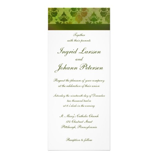 Damask Late Summer Green Wedding Invitations