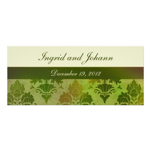 Damask Late Summer Green Wedding or Save the Date Personalized Announcements