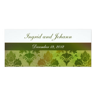 Damask Late Summer Green Wedding or Save the Date 4x9.25 Paper Invitation Card