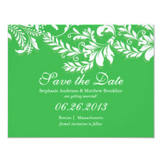 """Damask Leaf Save the Date Wedding Announcement 4.25"""" X 5.5"""" Invitation Card"""