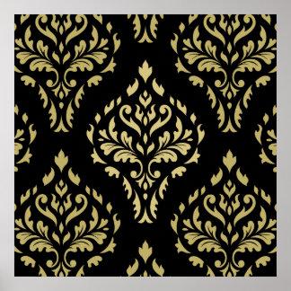 Damask Leafy Baroque Pattern Black & Golds Poster