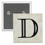 Damask Letter D - Black Badge