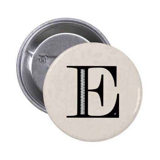Damask Letter E - Black 6 Cm Round Badge