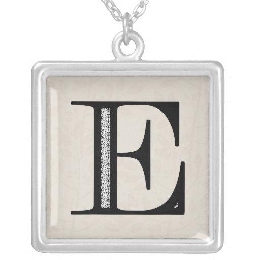 Damask Letter E - Black Square Pendant Necklace