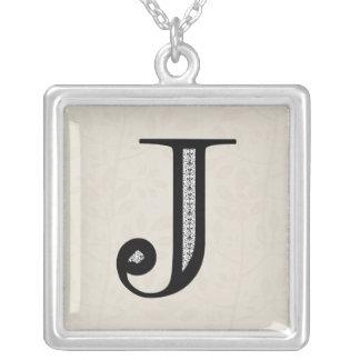Damask Letter J - Black Silver Plated Necklace