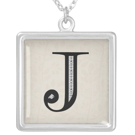 Damask Letter J - Black Silver Plated Necklace
