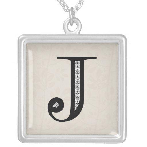 Damask Letter J - Black Square Pendant Necklace