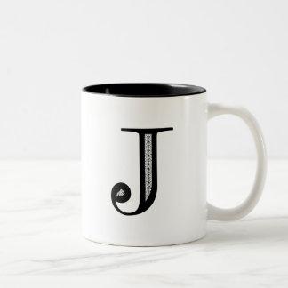 Damask Letter J - Black Two-Tone Mug