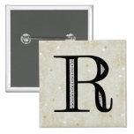 Damask Letter R - Black Badges