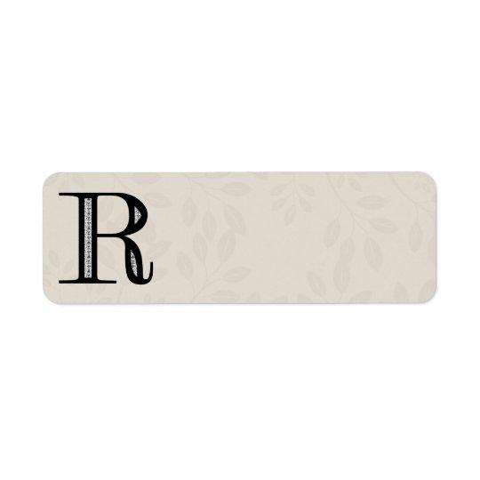Damask Letter R - Black Return Address Label