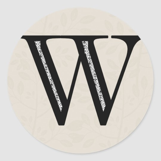 Damask Letter W - Black Classic Round Sticker
