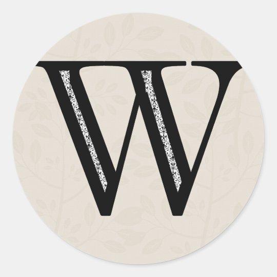 Damask Letter W - Black Round Sticker