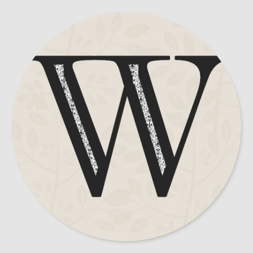 Damask Letter W - Black Round Stickers
