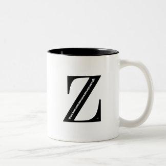 Damask Letter Z - Black Two-Tone Coffee Mug