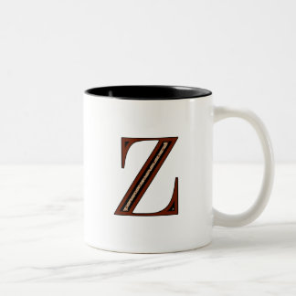 Damask Letter Z - Red Two-Tone Coffee Mug