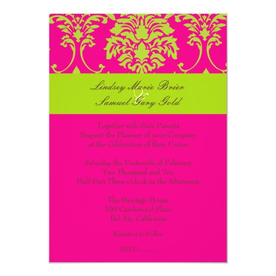 Damask/lime green/hot pink card