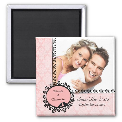 Damask Love Birds Photo Save The Date Magnet