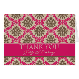 Damask Magenta and Brown Thank You Note Cards