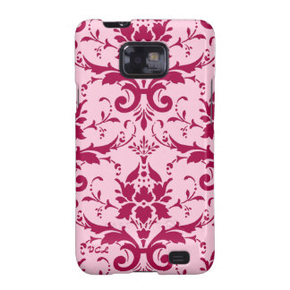 Damask: Magenta and pink, custom initials Galaxy S2 Covers