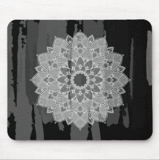 Damask Mandala Abstract Black Watercolor Vintage Mouse Pad