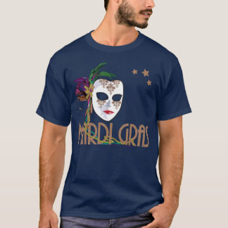 Damask Mardi Gras Mask T-shirt