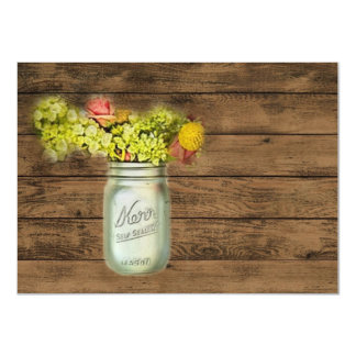 damask mason jar floral vintage birthday party 11 cm x 16 cm invitation card
