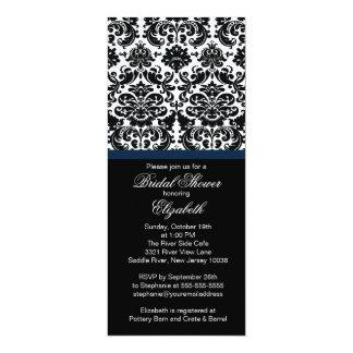 Damask Midnight Blue Bridal Shower Invitation